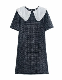 Fashion Black And White Doll Collar Stitching Contrast Color Texture Dress