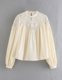 Fashion Yellow Embroidered Patchwork Lace Flower Shirt