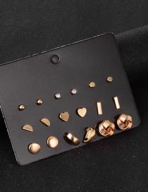 Fashion Gold Color Alloy Heart-shaped Geometric Earrings Set