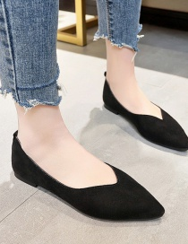 Fashion Black Pointed Toe Low-top Flat Thick Heel Shoes