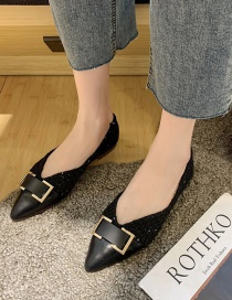 Fashion Black Low Heel Pointed Toe Flat Shoes