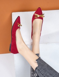 Fashion Rose Red Pointed Flat Bow Flat Chunky Heel Shoes