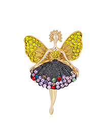 Fashion Golden Alloy Diamond Angel Brooch