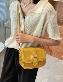 Fashion Yellow Embossed One-shoulder Crossbody Saddle Bag