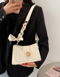 Fashion White Embossed Bow Shoulder Bag