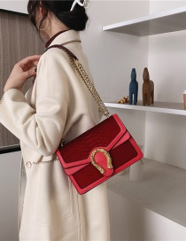 Fashion Red Textured One-shoulder Crocodile Crossbody Bag