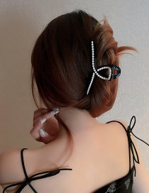 Fashion Black Hairpin Pearl Catch