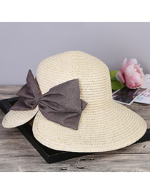 Fashion Beige Straw Hat With Anti-ultraviolet Rear Split Bow