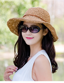 Fashion Khaki Large-brim Woven Folding Sun-protection Straw Hat