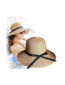 Fashion Thin Belt-light Coffee Foldable Bow Sunscreen Straw Hat