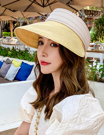Fashion Yellow Sunscreen Straw Hat With Hollow Top Uv Protection And Large Edge