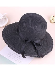 Fashion Black Bowknot Dome Sunshade Fringed Straw Hat