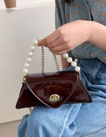 Fashion Coffee Color Patent Leather Shiny Pearl Hand Messenger Bag