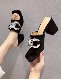 Fashion Black Block Heel Chain Square Toe Open-toed Sandals And Slippers