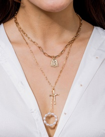 Fashion Golden Beaded Multilayer Cross Necklace