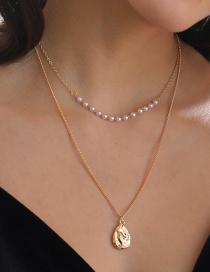 Fashion Golden Golden Shaped Pearl Drop Tag Necklace