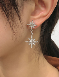 Fashion White K Alloy Diamond Star Earrings