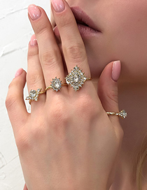 Fashion Golden Four-piece Diamond Geometric Ring Set