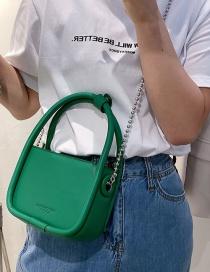 Fashion Green Tuba Soft Leather Chain One-shoulder Diagonal Handbag