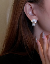 Fashion Silver Color Needle Gold Color Real Gold Color Electroplating Needle Micro-inlaid Zircon Pearl Earrings