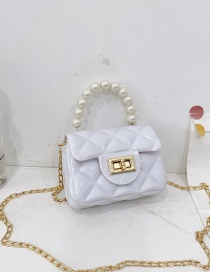 Fashion White Childrens Jelly Color Rubber Pearl Portable Shoulder Bag