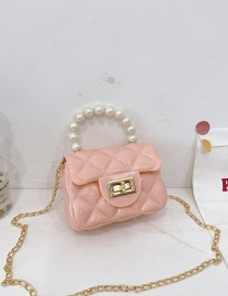 Fashion Pink Childrens Jelly Color Rubber Pearl Portable Shoulder Bag