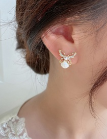 Fashion Gold Color Diamond Butterfly Pearl Stud Earrings