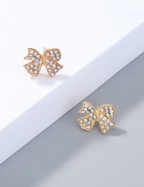 Fashion Gold Color Diamond Bow Stud Earrings