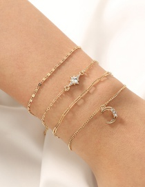 Fashion Gold Color Diamond Zircon Star And Moon Multilayer Bracelet Set