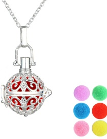 Fashion Pit + 6 Colored Balls Silver Plated Brass Aroma Necklace