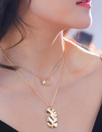Fashion Gold Color Coin Tag Freshwater Pearl Pearl Tag Multi-layer Necklace