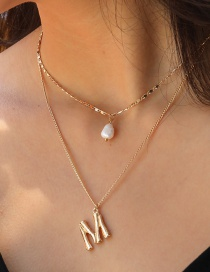 Fashion The Letter M Pearl Letter M Multilayer Necklace