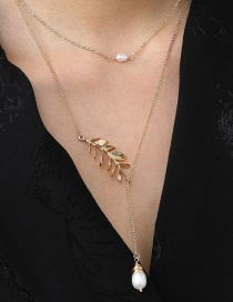 Fashion Gold Color Winding Rice Bead Long Necklace