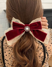 Fashion Burgundy Velvet Ribbon Lace Bow Spring Clip Lace Bow Hairpin
