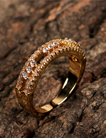 Fashion Gold Color Adjustable Ring With Diamond Opening
