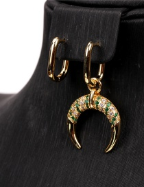 Fashion Green Spinel Asymmetrical Crescent Horn Earrings With Diamonds