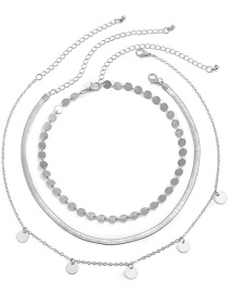 Fashion Silver Color Round Piece Geometric Thin Chain Necklace