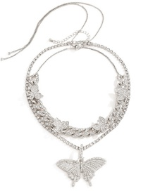 Fashion Silver Color Metal Chain Butterfly Necklace With Diamonds