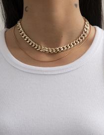 Fashion Gold Color Double Geometric Chain Necklace