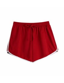 Fashion Red Patchwork Tie Straight-leg Shorts