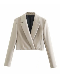 Fashion Beige Solid Color Small Suit Jacket