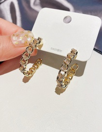 Fashion Real Gold Plated Micro-inlaid Zircon Metal Chain C-shaped Earrings
