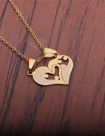 Fashion Gold Color Titanium Steel Full Cut And Polished Love Necklace
