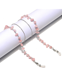 Fashion Silver Color Chain Pink Crystal Is Not Easy To Fade Glasses Chain
