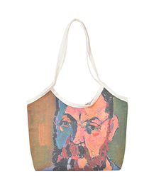 Fashion Two Men Oil Painting One-shoulder Large-capacity Canvas Handbag