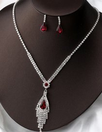 Fashion Red Tassel Two-piece Set Of Full Diamond Gemstone Earrings And Necklaces