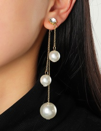 Fashion White Large And Small Pearl Tassel Earrings