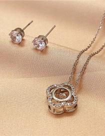 Fashion Silver Color Titanium Steel Flower Necklace Two-piece Diamond Earrings