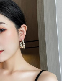 Fashion Gold Color Curved Diamond Earrings