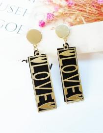 Fashion Black Black Gold Double Tag Letter Love Earrings